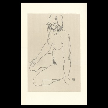 Egon Schiele, Kneeling female nude, turning to right, 1918, Lithographie Schiele