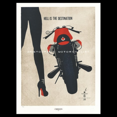 "Lorenzo Eroticolor – Guzzi - ""Hell is the Destination"", lithographie"