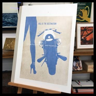 "Lorenzo Eroticolor – Guzzi - ""Hell is the Destination"", lithographie"