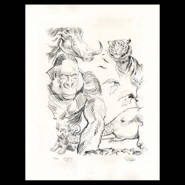 """Lithographie """"Animaux"""" par Olivier Martin et Jérôme Lereculey, 2019"""