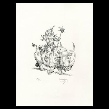 """Lithographie """"Wollodrïn"""" par Jérôme Lereculey"""