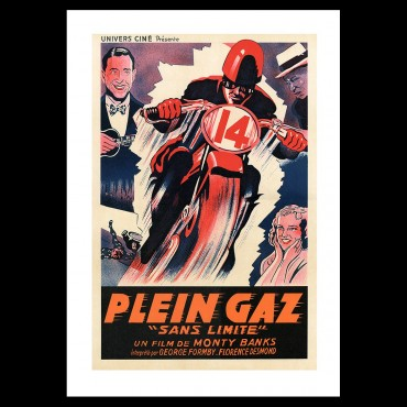 """Plein Gaz, """"Sans limite"""", film moto, Café Racer, lithographie"""