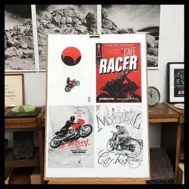 Lithographie de Vince* réalisée à l'occasion du Café Racer Festival