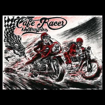 Lithographie de Gürel Philippe pour le Café Racer Festival