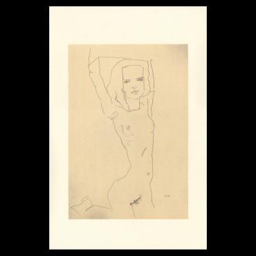 Egon Schiele, Nude Girl with Arms Raised, 1910, Lithographie Schiele, Egon Schiele