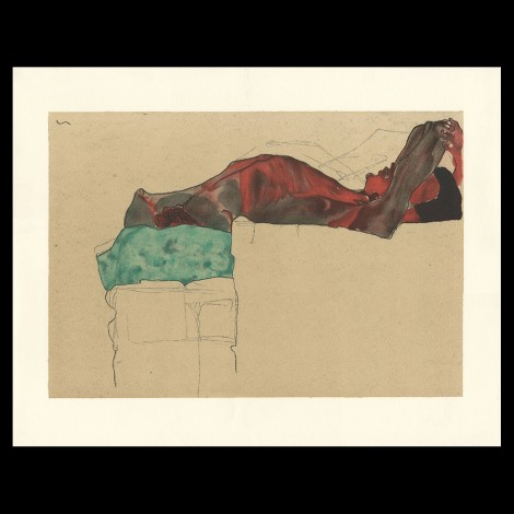 Egon Schiele, Reclining male nude with green cloth, 1910, Lithographie Schiele