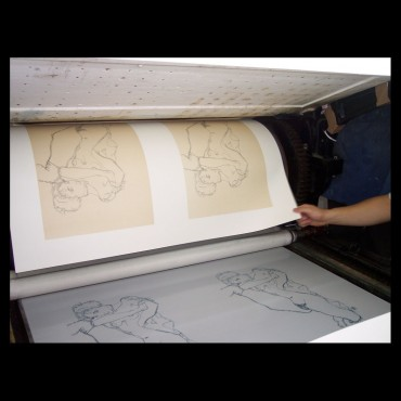 Egon Schiele, Kneeling Male Nude in Profile, Facing Right, 1910, Lithographie Schiele, Egon Schiele