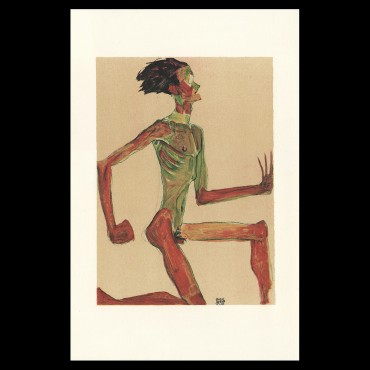 Egon Schiele, Kneeling Male Nude in Profile, Facing Right, 1910, Lithographie Schiele, Egon Schiele