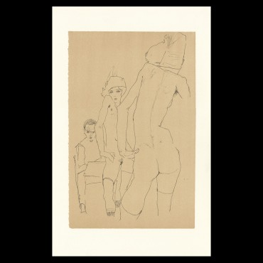 Egon Schiele, Schiele drawing a nude model before a mirror, 1910, Lithographie Schiele, Egon Schiele