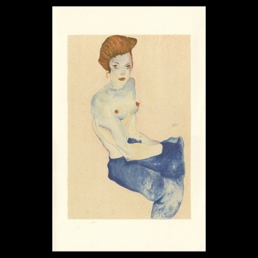 Egon Schiele, Seated Girl with Bare Torso and light blue skirt, 1911, Lithographie Schiele, Egon Schiele