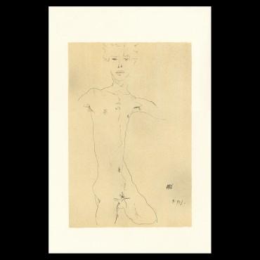 Egon Schiele, Standing Male Nude, 1912, Lithographie Schiele, Egon Schiele