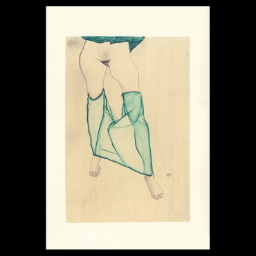 Egon Schiele, Standing Female Nude from the Waist Down with Green Garment, 1913, Lithographie Schiele, Egon Schiele