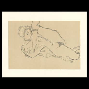 Egon Schiele, Recining Nude, Left Leg Raised, 1914, Lithographie Schiele