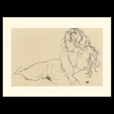 Egon Schiele, Reclining Nude with Raised Torso, 1918, Lithographie Schiele