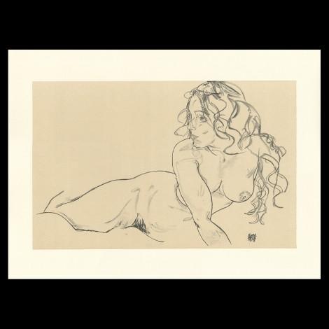 Egon Schiele, Reclining Nude with Raised Torso, 1918, Lithographie Schiele