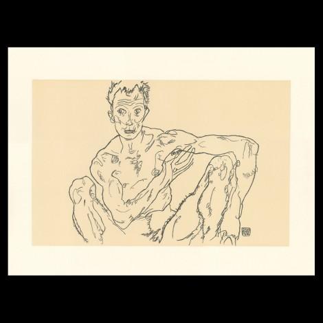 Egon Schiele, Crouching male nude (self portrait), 1918, Lithographie Schiele