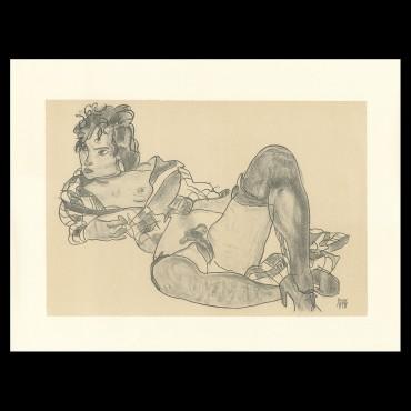 Egon Schiele, Reclining woman, 1918, Lithographie Schiele